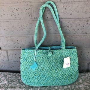 NWT Liz Claiborne Multi Blue/Green LG Knit Purse
